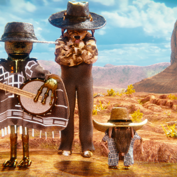 The Three Animals in Cowboy Outfits
