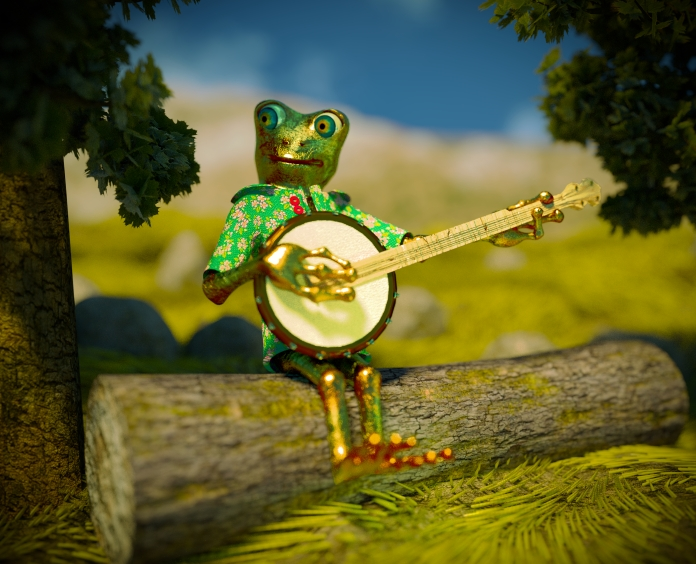 The frog with a banjo on a log